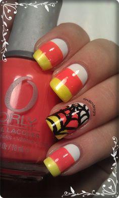 candy corn nails, candi corn, nail arts, halloween nails
