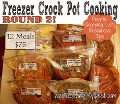 Another pinner said....Freezer Crock Pot Meals  6 recipes, doubled, 2 hours of prep time. 12 meals in 2 hours – not bad! The even better part? It only cost about 75 dollars! That averages out to 6.25/recipe – many of which will last at least 2 days (some more!) bringing it down to around 3 dollars a night to feed a family!