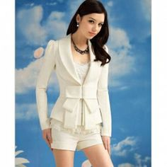 $13.31 Elegant and Slim Bowknot White Long Sleeves Cotton Blend Fabric Coat For Women