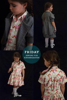 shirt dress and comfy cardigan // petit à petit and family