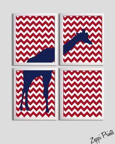 Boys Nursery Art Chevron Navy Red Giraffe