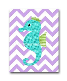 Sea Seahorse Nursery Kids wall art Baby Nursery by artbynataera, $14.00
