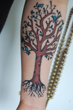 tree tattoos, bluebird, family trees, color, little birds, tattoo patterns, tattoo ink, tree of life, the roots
