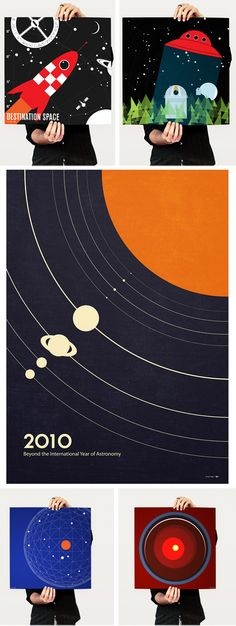 Space themed art for boy's room decor