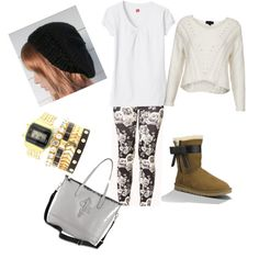Basic B*tch with the Hanes V Neck printed leggings ugg josette boots cole haan bag stacking bracelets slouchy beanie outfit inspiration