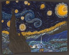 """Leigh Rawls """"Starrynite"""", Loveless Academic Magnet High School, teacher Sally Chambliss, 11"""" x 14"""" unmounted, 24"""" x 32"""" mounted, Mixed Media From The Thread of the Modern (Exhibition Connection Twentieth Century Tapestries) #Montgomery Museum of Fine Arts"""