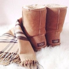 UGG boots + Burberry scarf