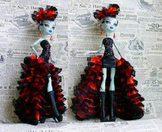 Monster High Clothes hand made Dress, Monster High clothes, Jewelry Set, ball gown for Monster Doll black orange violet on Etsy, $18.00