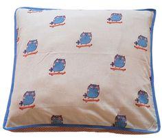 {block printed owl cushion} so sweet!