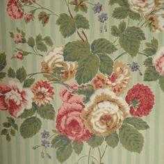 Roses Floral Striped Thomas Strahan Designer Historic Victorian Wallpaper