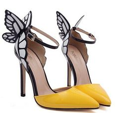 """Fashionable Women's Pumps With Butterfly Wings and Color Block Design Color: YELLOW, PURPLE Size: 35, 36, 37, 38, 39, 40 Category: Shoes > Women's Shoes > Women's Pumps   Pumps Type: D'Orsay & Two-Piece  Toe Style: Closed Toe  Toe Shape: Pointed Toe  Shoe Width: Medium(B/M)  Heel Type: Stiletto Heel  Heel Height Range: Super High(Above4"""")  Occasion: Party  Upper Material: Patent Leather  Lining Material: PU   #cheapwomenspumpsheels #womensheels #cheapheels #stilettoheel #bridgat.com"""