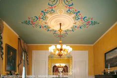 Modello Ceiling and Gilded Mirror Frame by Stencil Star Teri Taylor Roddi   Paint + Pattern