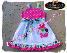 1st Birthday Dress For Baby Girl Polka Dot by ZamakerrClothingCo