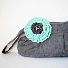gathered clutch purse - gray with teal flower (by brighter day via emmaline bride)
