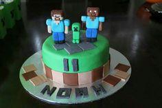 Minecraft cake. Vanilla cake with buttercream icing and homemade marshmallow fondant.