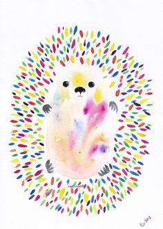 Happy Rainbow Hedgehog   Art Painting  Original by cat2owl on Etsy, $22.00