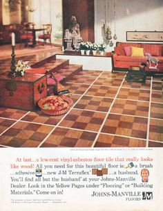"""Description: 1961 JOHNS-MANVILLE FLOORS vintage magazine advertisement """"low-cost vinyl-asbestos"""" -- At last ... a low-cost vinyl-asbestos floor tile that really looks like wood! All you need for this beautiful floor is: a brush ... adhesive ... new J-M Terraflex ... a husband. -- Size: The dimensions of the full-page advertisement are approximately 10.5 inches x 13.5 inches (26.75 cm x 34.25 cm). Condition: This original vintage full-page advertisement is in Excellent Condition unless otherwi..."""