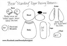 paper craft, scrapbook templat, bears, bear paper, papers, free printabl, piec pattern, paper pierc, paper piecing patterns