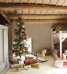 Best 10 Adorable Christmas Kids Room Decorations : Awesome Christmas Tree Decoration with Number Shaped Ornaments in Rustic Kids Bedroom Des...