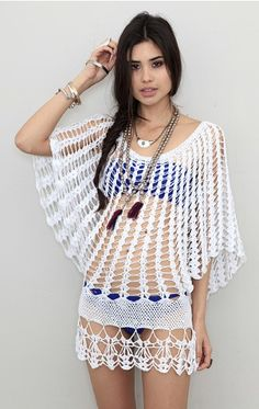 crochet butterfly sleeve cover-up