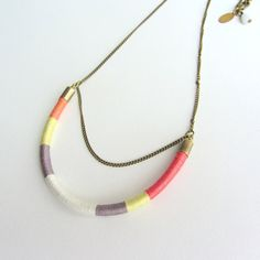 Ethnic tribal long thread necklace, antique brass chain