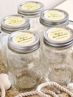 Summer Memory Jars with Personalized Labels (www.evermine.com) - could use for #wedding trinkets, #summer trips, etc.
