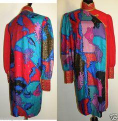Vtg 80's Designer Jeanne Marc Dress Boho Nothing Matches Asian Influenced Red P2 | eBay