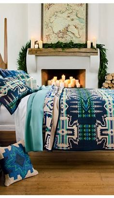 I want to live in this picture. Southwest winter bedroom fireplace pendleton