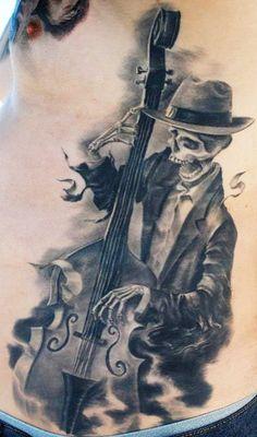 Tattoo Artist - Carlos Torres | www.worldtattoogallery.com/tattoo_artist/carlos_torres skulls, music tattoos, dreams, skull tattoos, white tattoos, tattoo artists, skeleton, cellos, tattoo ink