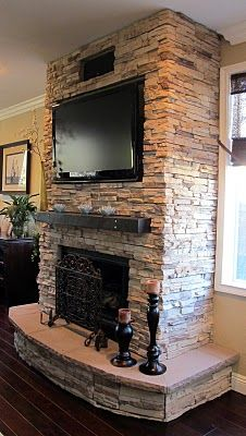 LOVE this Fireplace living rooms, basement, dream hous, fireplaces ideas, stones, fireplace wall, mantl, stone fireplaces, design