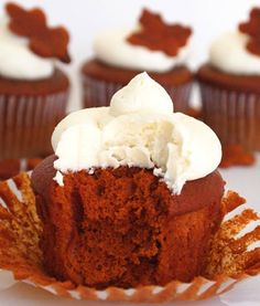 Orange Velvet #Cupcakes with Little Leaf Toppers