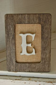 Rustic wood frame with burlap and letter initial, rustic housewarming gift, rustic wedding frame, shabby chic nursery, shabby chic decor