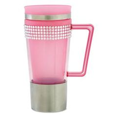 Pink Rhinestones Eco-Cup | Lillian Vernon - Mugs | Lillian Vernon