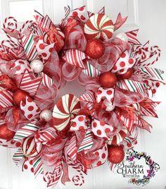 christmas wreaths, christma wreath, theme wreath, imag christma, mesh christma, door, christma peppermint