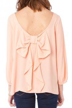 peach bow blouse