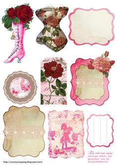 la Vie en rose avec cette jolie planche de tags...