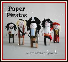 Meet the Crew!  From left to right:  Johnny Hook, First Mate Lucky Locks, Captain Smarm, Pegleg Willy, and Saucy Sue!