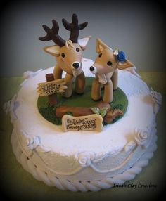 Wedding Cake Topper, Custom Cake Topper, Buck and Doe, Cake Topper, Deer, Personalized, Polymer Clay, Keepsake. $89.00, via Etsy.