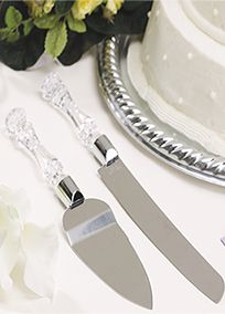 "Sparkle, sparkle, it's the cake tables turn. With this faux crystal cake knife and server set your table is sure to shine. This set will complete any cake table. Features and Facts:  Measures: H 1.4"" X W 4.4"" X L 14.3""."