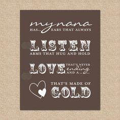 Nana Quote, My Nana has ears that always listen arms that hug and... - 8x10 - Giclée Art Print. $20.00, via Etsy.