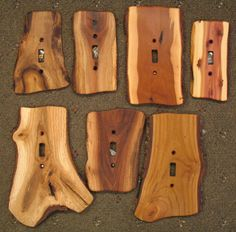 Wood light switch covers. Much nicer than the plastic covers.