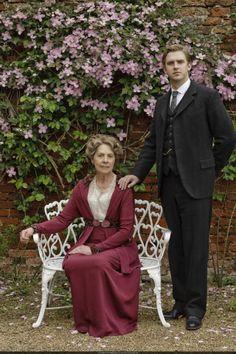 Matthew Crawley stand beside his mother Isobel Crawley