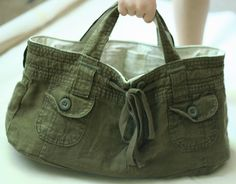Upcycled Shorts into a Bag~Fantastic Picture Tutorial