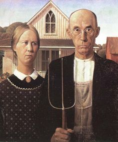 unknow artist grant woods malning american gothic