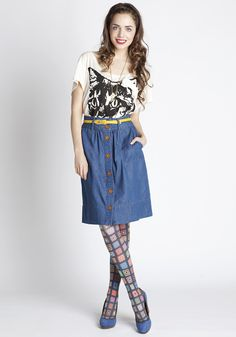 {denim skirt & kitty shirt} + what fun tights!