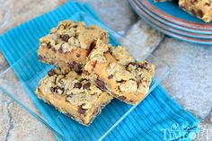 Chocolate Chip Caramel Cookie Bars are SO good with a sweet, gooey, caramel center!   MomOnTimeout.com