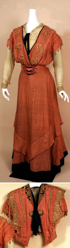 Afternoon dress, G. Giuseffi Ladies' Tailoring Co., Missouri, ca. 1902-12. Silk shantung with short-sleeved, Eton-like jacket and ecru silk georgette blouse. Dress has surplice bodice and girdled waist with ankle-length skirt that fits smoothly over hip. Missouri History Museum