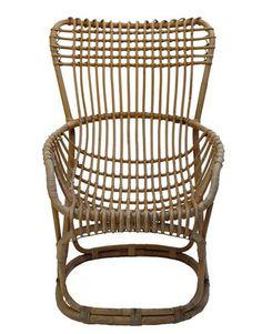 Vintage 1950s Italian Design Woven Bamboo Lounge Chair :: Quintessentia