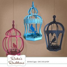 3D Bird Cages Digital Cut File and Template - DXF, SVG and PDF. $3.99, via Etsy.