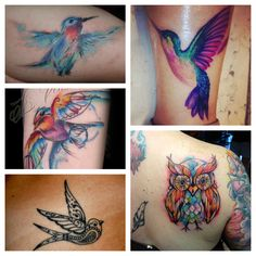 Watercolor tattoo ideas- love the colors in the upper right hummingbird.